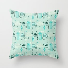 Christmas gift and ornaments Blue Throw Pillow
