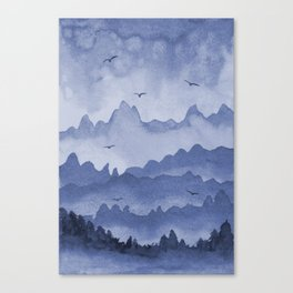 misty mountains - blue palette Canvas Print
