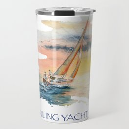 Sailing Yacht Club Blue Words Color Travel Mug