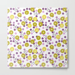 Yellow and pink polka dots on a black background . Metal Print