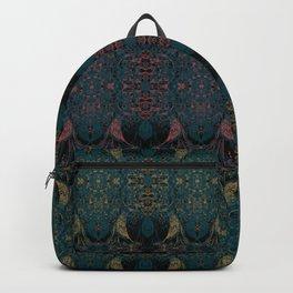 Angel Wings Pattern - Sandy Golden, Cyprus Green & Apple Blossom Pattern on Black by artestreestudio Backpack