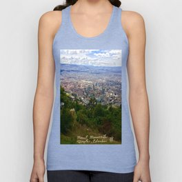 Mount Monserrate, with a 10,000 ft view of Bogota Colombia Unisex Tank Top