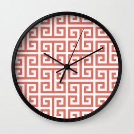 Terracotta and White Greek Key Wall Clock