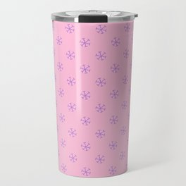 Lavender Violet on Cotton Candy Pink Snowflakes Travel Mug