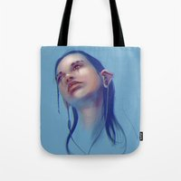 sci fi Tote Bags featuring Sci-fi Music listening by Thubakabra