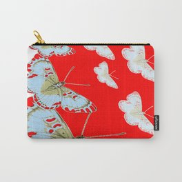 SURREAL RED & WHITE BUTTERFLIES MODERN  ART Carry-All Pouch