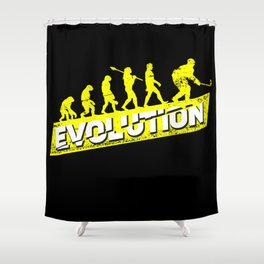 Ice Hockey Player Evolution Sport Trainer Coach Goalie Funny Team Goalkeeper Defender Gift Idea Shower Curtain