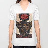 django V-neck T-shirts featuring Django by C.R.ILLUSTRATION