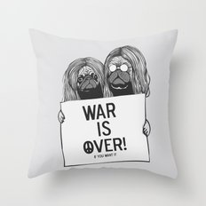 War is over Pugs Throw Pillow