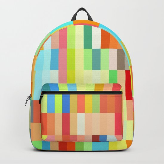 colorful rectangle grid Backpack