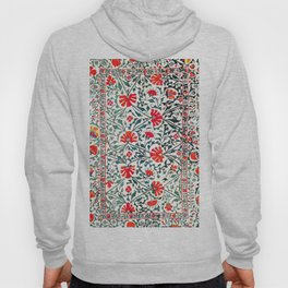 Floral Pattern Tapestry II // 18th Century Colorful Green Yellow Orange Red Mint Blue Flower Design Hoody