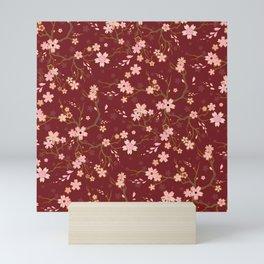 Red Sakura Batik Mini Art Print
