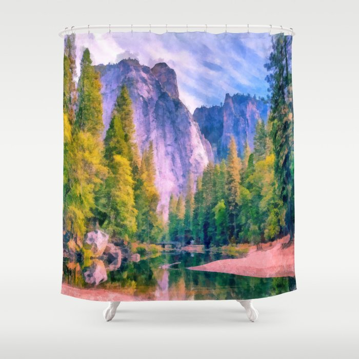 Mountain Landscape With Forest And River Shower Curtain