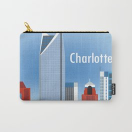 Charlotte, North Carolina - Skyline Illustration by Loose Petals Carry-All Pouch