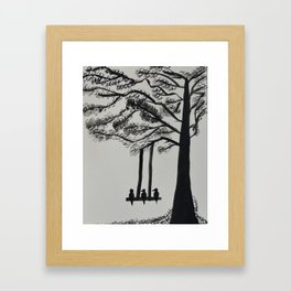 Lonely birds by the tree Framed Art Print