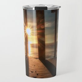 Through the Blinds sun bursts through Avila Pier Avila Beach California Travel Mug