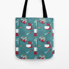 Retro Kitchen - Teal and Raspberry Tote Bag