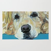 golden retriever Area & Throw Rugs featuring Shiner the Golden Retriever by Barking Dog Creations Studio