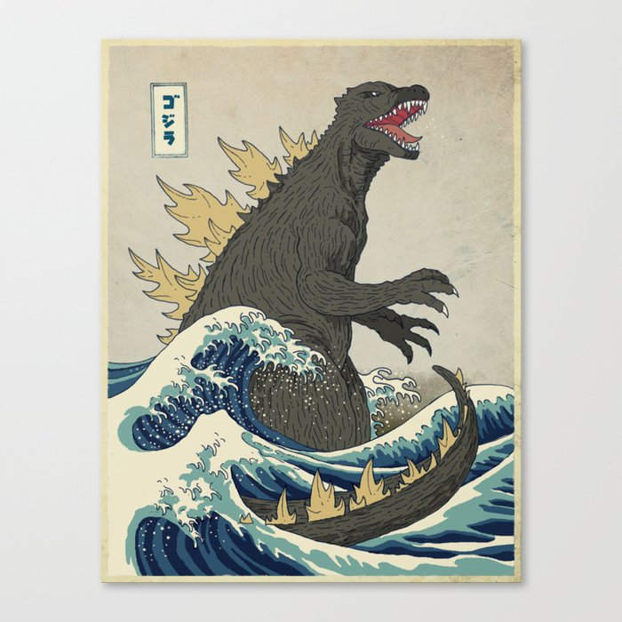 The Great Godzilla off Kanagawa Leinwanddruck