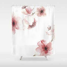 Pink floral shower curtains society6 elegant cherry blossom tree flowers romantic pastel pink floral garden shower curtain mightylinksfo