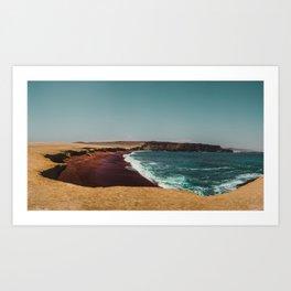 Red Beach 'Playa Roja' in the Paracas desert meets the Pacific Ocean in Peru Art Print