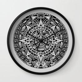 Mayan Calendar // Light Grey Wall Clock