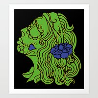 day of the dead green Art Print