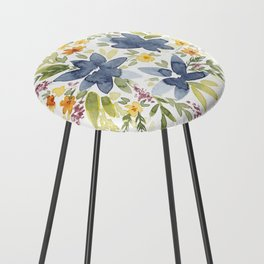 Watercolor Floral Bouquet Counter Stool