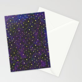 Starry Night Tile Pattern in Purple  Stationery Cards
