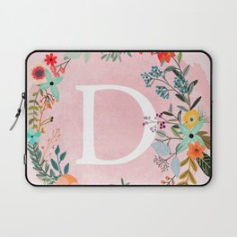 Flower Wreath with Personalized Monogram Initial Letter D on Pink Watercolor Paper Texture Artwork Laptop Sleeve