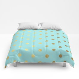 Gold polka dots on aqua background - Luxury turquoise pattern Comforters