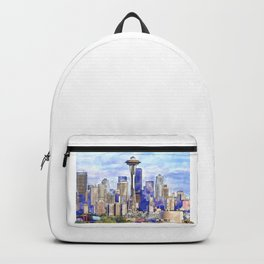 Seattle View in watercolor Backpack