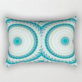 Cyan Glow Kaleidoscope 15 Rectangular Pillow