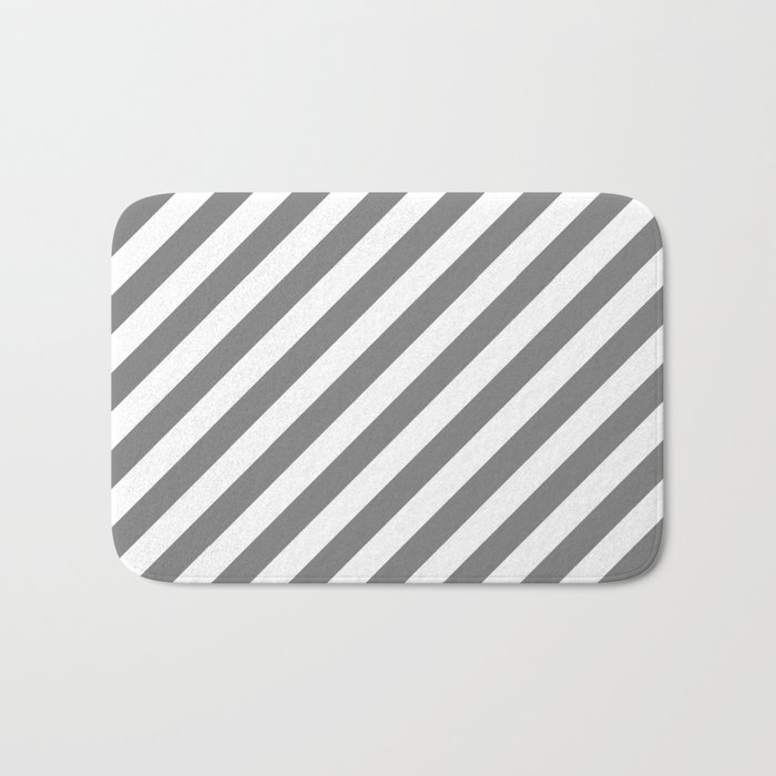 Diagonal Stripes (Gray/White) Bath Mat
