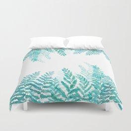 green fern watercolor Duvet Cover