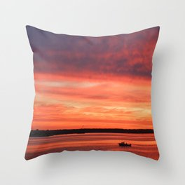 Crab boat, Patuxent River sunrise | St. Marys, MD Throw Pillow
