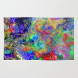 Abstract bright colorful watercolor brushstrokes pattern Rug