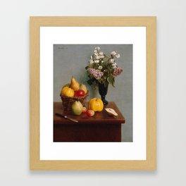 Henri Fantin-Latour - Still Life with Flowers and Fruit (1866) Framed Art Print