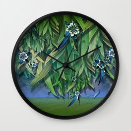 """""""Spring Forest of Surreal Leaf litter and flowers"""" Wall Clock"""