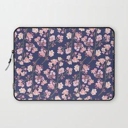 Cherry Blossom Pattern on Navy Laptop Sleeve