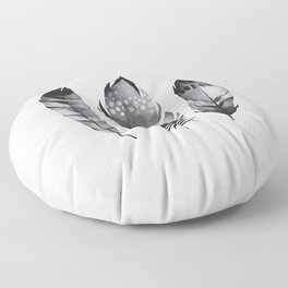 Monochrome bohemian feather set black-white boho watercolor animal illustration boho home wall decor Floor Pillow