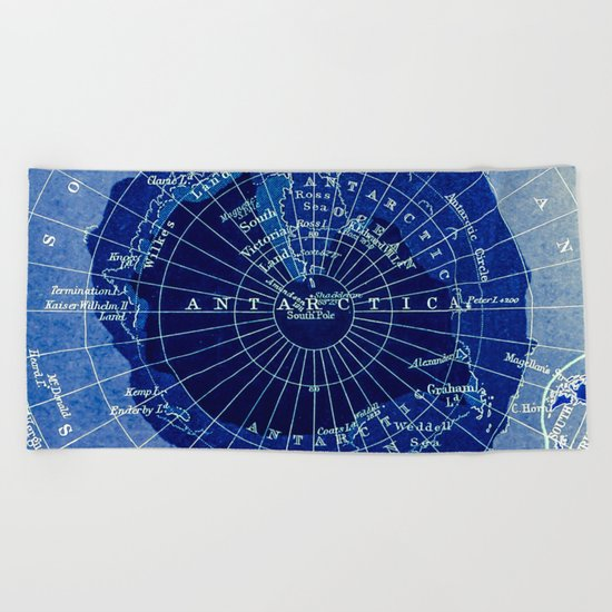 South Pole Neon Map Beach Towel