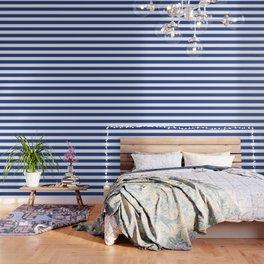 Dark cornflower blue - solid color - white stripes pattern Wallpaper