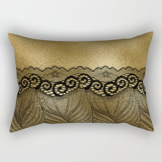 Black floral luxury lace on gold effect metal background Rectangular Pillow