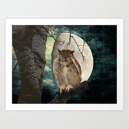 Great Horned Owl Bird Moon Tree A138 Art Print