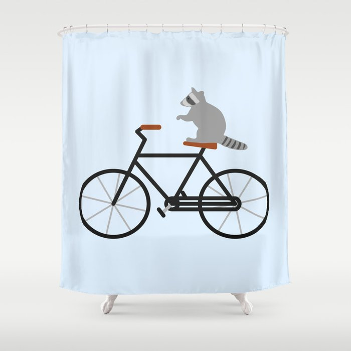 Raccoon Riding Bike Shower Curtain