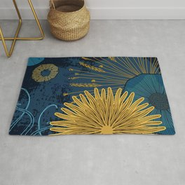 Navy floral background Rug