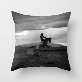 Black and White Cowboy Being Bucked Off Throw Pillow