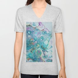 Fluid Nature - Candyfloss Tendrils - Abstract Acrylic Pour Art Unisex V-Neck