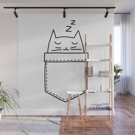 Cat sleeping in the pocket Wall Mural